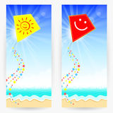 Summer backgrounds with kites Stock Images