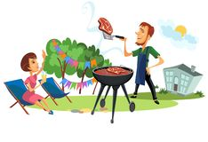 Summer backyard and family barbeque. Summer backyard and couple on barbeque poster. Man with spatula and roasted meat. Woman greeting and drinking cocktail from vector illustration