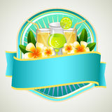 Summer Badge Beverage. Badge in summer theme with beverage and cocktail Royalty Free Stock Photo