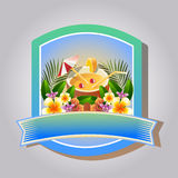 Summer badge coconut drink. Badge in summer theme with coconut drink Stock Photography