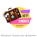 Summer badge isolated on white. Travel bag and ad text. Easy to edit vector label isolated on white Stock Images