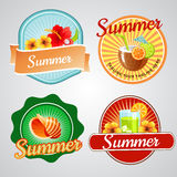 Summer badge. 4 badge in summer theme. eps 10 file, with no gradient meshes,blends,opacity, stroke path,brushes.Also all elements grouped and layered stock illustration