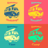 Summer badges. Bus with a surfboard on the roof. Bus with a surfboard on the roof.  The sign and symbol surfing transportation Stock Photos