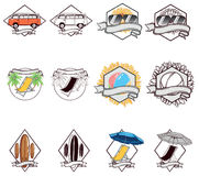 Summer Badges. In white background Royalty Free Stock Image