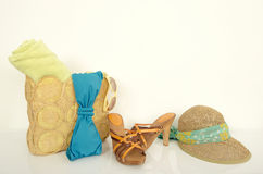 Summer bag with with beach accessories. Royalty Free Stock Photos