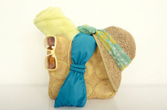 Summer bag with with beach accessories. Stock Photos