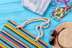 Summer bag with beach items. Royalty Free Stock Photo