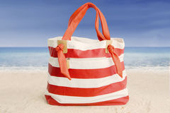 Summer bag on the sand Royalty Free Stock Images