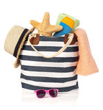 Summer bag with sunglasses, starfish and straw hat Stock Photography