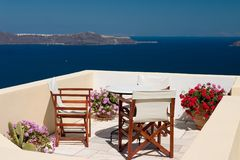 Summer balcony view. Beautiful view from balcony on the Santorini island royalty free stock images