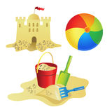Summer_ball. Set for summer recreation for children Royalty Free Stock Images