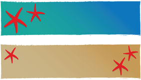 Summer banner vector. Two summer banner with starfishes + vector eps file Stock Photos