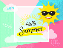 Hello Summer Sun with Sunglasses sign. Hello Summer banner. Sun with sunglasses, Calligraphy lettering, abstract dynamic exotic background. Kids Camp Event Royalty Free Stock Images
