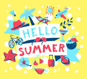 Summer banner. Beach season background with summer cute objects. royalty free illustration