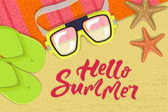 The summer banner. The summer bright composition of inscription, glasses, pair of flip-flops, starfish, mat. Vector illustration Stock Photos