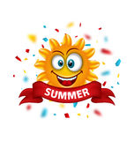 Summer Banner with Cartoon Smiling Sunny Stock Photos