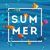 Summer banner with decoration of fish, sea stars and anchors. Summer banner with blue sea background. Fish in cartoon style on the seafloor. The text of the Stock Photo