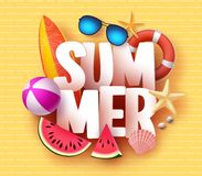 Summer banner design with 3D text title and colorful tropical beach elements Royalty Free Stock Photography