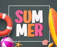 Summer banner design template with 3D colorful summer text. And beach elements in black boarder patterned background. Vector illustration Stock Photos
