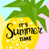 Summer banner with fruit, place for text with pineapple, vector Royalty Free Stock Photo