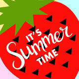 Summer banner with fruit, place for text with strawberry, vector Royalty Free Stock Image