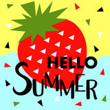 Summer banner with fruit, place for text with strawberry, vector Stock Photography