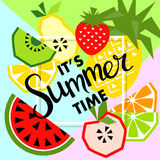 Summer banner with fruit, place for text. Vector Royalty Free Stock Image