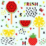 Summer banner with fruit, place for text, vector Royalty Free Stock Image