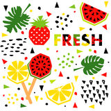 Summer banner with fruit, place for text, vector Stock Photo