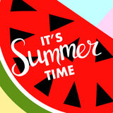 Summer banner with fruit, place for text with watermelon, vector Stock Image