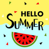 Summer banner with fruit, place for text with watermelon, vector Royalty Free Stock Images