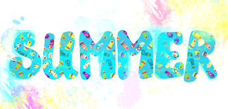 Summer banner - funny watercolor Stock Images