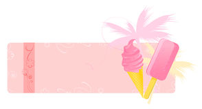 Summer banner with ice-creams. Summer banners with ice-creams, palm and floral ornament Royalty Free Stock Photos