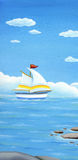 Summer banner, landscape with sailing boat. Stock Photo