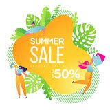 Summer sale banner template. Summer abstract geometric background with tropical leaves and little flat characters. stock illustration