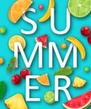 Summer Banner with Pineapple, Watermelon, Banana, Cherry, Orange, Lemon, Lime Royalty Free Stock Photo