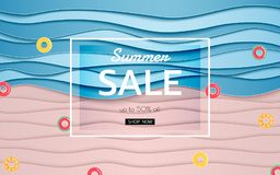 Summer banner sale. Top view blue sea and beach paper waves with fruits rubber ring. Paper cut style Royalty Free Stock Photography