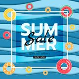 Summer banner sale. Top view blue sea paper waves with fruit rubber ring. Seasonal design advertising paper cut style Stock Image