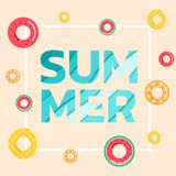Summer banner sale. Top view blue sea paper waves with fruit rubber ring and text ` SUMMER`. Seasonal design advertising paper cut Stock Images