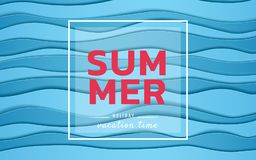 Summer banner sale. Top view blue sea paper waves. Seasonal design advertising paper cut style. Stock Photography