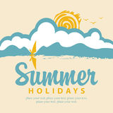 Summer banner with sea and surfer Stock Images