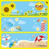Summer banner set. Illustration vector Royalty Free Stock Photo