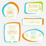 Summer banner set logo, sticker, speech bubble with flower and p Stock Photo