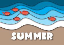 Summer banner template in A4 format, with sea or ocean waves,tropical sand beach, red fish and text. Summer. Summer vacation concept. Paper cut out style vector Royalty Free Stock Image