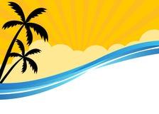 Summer banner with tropical beach scene. Summer themed banner with tropical beach scene Stock Images