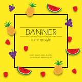 Summer banner with tropical fruits vector illustration. Summer banner with tropical fruits, vector illustration Vector Illustration