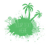 Summer banner with watercolor splashes palm trees Stock Photo