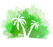 Summer banner with watercolor splashes and palm trees. Stock Photos