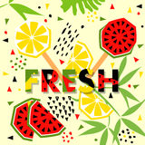Summer banner with watermelon and lemon, place for text. Royalty Free Stock Photography