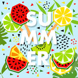 Summer banner with watermelon and lemon, place for text. Trendy Royalty Free Stock Images